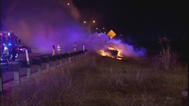 Woman lucky to escape before car bursts into flames | KEYE
