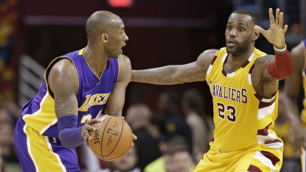 2f98c0ea181 Cleveland Cavaliers  LeBron James (23) guards Los Angeles Lakers  Kobe  Bryant (24) in the second half of an NBA basketball game Wednesday