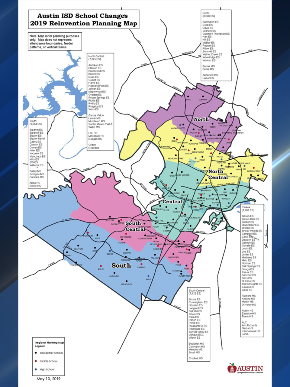 austin isd district map Austin Isd Releases Final Map Of School Changes Which Could austin isd district map